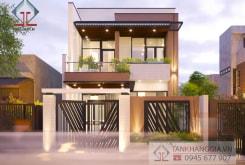 Thiết kế nhà phố 1 trệt 1 lầu đẹp Long Khánh – Đồng Nai | Tân Khang Gia